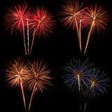 Fuochi d'artificio variopinti brillanti Fotografia Stock