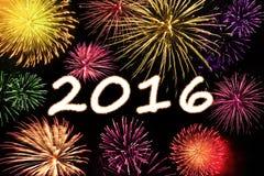 Fuochi d'artificio variopinti con i numeri 2016 Fotografia Stock Libera da Diritti