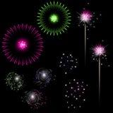 Fuochi d'artificio variopinti con spazio per testo Immagine Stock