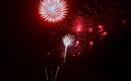 Fuochi d'artificio variopinti di celebrazione Saluto di feste del nuovo anno il quarto luglio, Immagini Stock