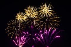 Fuochi d'artificio variopinti di vari colori sopra cielo notturno Fotografia Stock