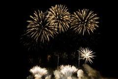 Fuochi d'artificio variopinti di vari colori sopra cielo notturno Immagini Stock Libere da Diritti