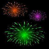 Fuochi d'artificio variopinti festivi Immagini Stock