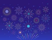 Fuochi d'artificio variopinti illustrazione di stock