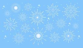 Fuochi d'artificio variopinti illustrazione vettoriale