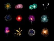 Fuochi d'artificio variopinti isolati su fondo nero fotografia stock