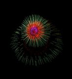 Fuochi d'artificio variopinti nel fondo nero, fuochi d'artificio a Malta Fotografia Stock Libera da Diritti