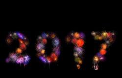 fuochi d'artificio variopinti numero 2017 - il bello fuoco d'artificio variopinto è Fotografia Stock Libera da Diritti