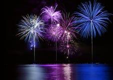 Fuochi d'artificio variopinti sopra il lago Fotografie Stock