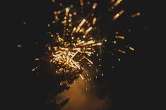 Fuochi d'artificio variopinti sopra un cielo notturno Immagini Stock Libere da Diritti