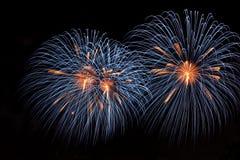Fuochi d'artificio variopinti su priorità bassa scura 4 Fotografia Stock