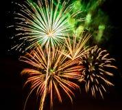 Fuochi d'artificio variopinti sul cielo nero Immagine Stock