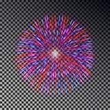 Fuochi d'artificio variopinti sul cielo Vettore del petardo isolato Fotografie Stock Libere da Diritti