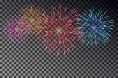 Fuochi d'artificio variopinti sul cielo Vettore del petardo isolato Fotografia Stock Libera da Diritti