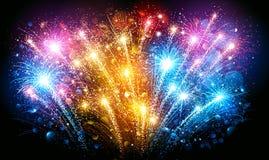 Fuochi d'artificio variopinti Vettore illustrazione di stock