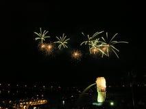 Fuochi d'artificio verdi a Singapore Fotografie Stock