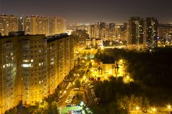 Fuochi di Mosca di sera tardi fotografia stock libera da diritti