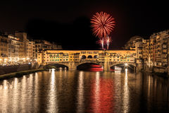 Fuochi di San Giovanni a Firenze. S.John Fireworks over ponte vecchio in florence italy royalty free stock photos