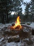 Fuoco all'aperto nell'inverno fotografia stock