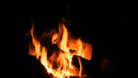 Fuoco bruciante in fornace stock footage