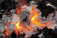 Fuoco caldo del carbone Fotografia Stock Libera da Diritti