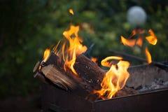 Fuoco con i carboni Legno Burning Macro Fiamme in tensione con fumo Legno con la fiamma per il barbecue ed il bbq di cottura Immagine Stock