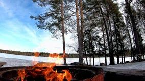 Fuoco con il banco di sedili per il barbecue in una terra della neve coperta di alberi e di lago congelato dietro di bello paesag archivi video
