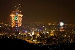 Fuoco d'artificio 2009 di Taipeh 101 Fotografia Stock