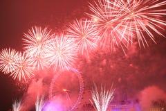 Fuoco d'artificio all'occhio di Westminster Immagine Stock Libera da Diritti