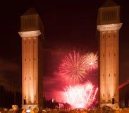 Fuoco d'artificio a Barcellona Immagine Stock