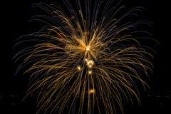 Fuoco d'artificio blu e giallo Immagine Stock