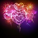 Fuoco d'artificio del biglietto di S. Valentino di festa di vettore Fotografie Stock