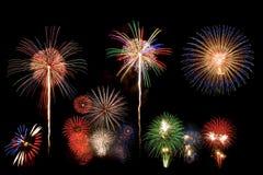 Fuoco d'artificio della miscela in cielo nero Fotografie Stock