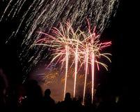 Fuoco d'artificio di notte del falò Fotografie Stock Libere da Diritti