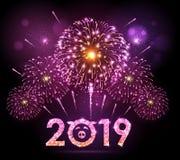 Fuoco d'artificio di rosa di festival di festa di vettore Scheda di nuovo anno felice fotografia stock
