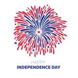 Fuoco d'artificio di vettore per il quarto luglio Illustrazione americana di festa dell'indipendenza Fotografia Stock