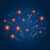 Fuoco d'artificio e stelle stilizzati Illustrazione di vettore Fotografia Stock