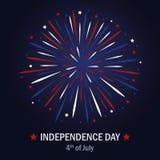 Fuoco d'artificio felice degli S.U.A. di festa dell'indipendenza nei colori blu e rossi illustrazione vettoriale