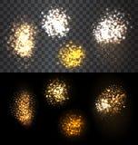 Fuoco d'artificio festivo dell'insieme che scoppia le varie forme Fotografie Stock