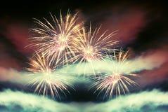 Fuoco d'artificio freddo di notte Fotografia Stock Libera da Diritti