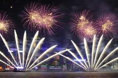 Fuoco d'artificio a Hong Kong 2011 Fotografia Stock Libera da Diritti