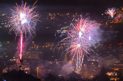 Fuoco d'artificio Innsbruck 4 del nuovo anno Fotografie Stock