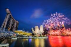 Fuoco d'artificio nel festival 50SG Immagini Stock