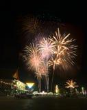 Fuoco d'artificio nella festa del papà della Tailandia Immagine Stock Libera da Diritti