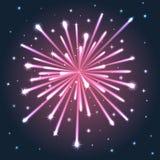 Fuoco d'artificio rosa illuminato. Immagini Stock