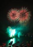 Fuoco d'artificio sopra la valle del Reno Immagine Stock