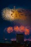 Fuoco d'artificio sopra Mosca La Russia Fotografie Stock
