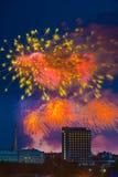 Fuoco d'artificio sopra Mosca La Russia Fotografie Stock Libere da Diritti