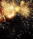 Fuoco d'artificio su fondo nero Fotografia Stock