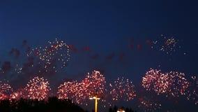 Fuoco d'artificio su Victory Day, Mosca, Federazione Russa stock footage